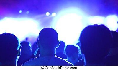 lumiere, spectateurs, concert, rétroéclairage, dos