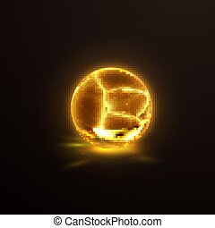 Luminescent cracked crystal sphere. Vector illustration....