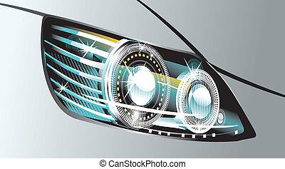 luminescent, lâmpada, car, desenho, modernos
