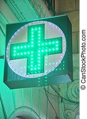 lumineux, pharmacie, tape-à-l'œil, signe