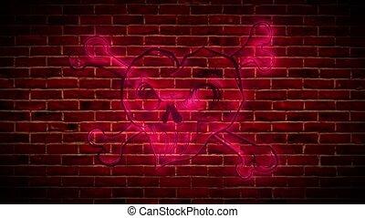 lumineux, signe, clair, symbole, crâne, roses, panneau ...