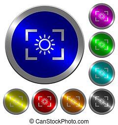 luminosità, colorare, regolazione, bottoni, macchina fotografica, coin-like, luminoso, rotondo