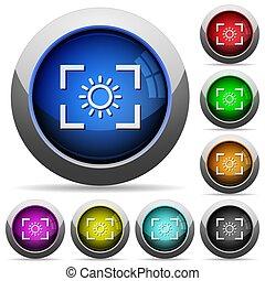 luminosità, rotondo, bottoni, macchina fotografica, lucido, regolazione