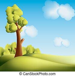 luminoso, albero, cartone animato, paesaggio