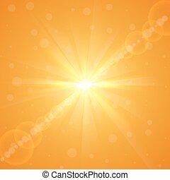 luminoso, amarela, verão, estouro sol, vetorial, experiência.
