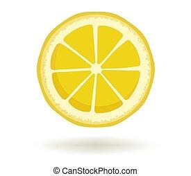 luminoso, anunciando, ícone, animação, redondo, modelo, cítrico, fruit.vector, limão, cartaz, fatia, experiência., branca, logotipo, isolado, desenho, sombra, amarela, ilustração