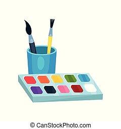 luminoso, aquarela, tintas, caixa, e, escovas, em, cup., ferramentas, para, drawing., projeto gráfico, elemento, para, crianças, s, arte, class., caricatura, apartamento, vetorial, ícone