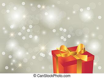 luminoso, argento, fondo, con, regalo