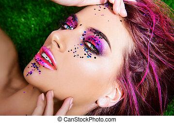 luminoso, artisticos, maquiagem