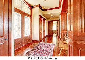 luminoso, atrio, in, sede lusso, con, legno duro, floor.