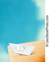 luminoso azul, céu, e, um, bote, ligado, tábua madeira, com, tipografia