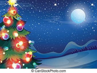 luminoso, bolas, árvore, natal