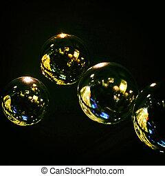 luminoso, bolle, su, sfondo nero