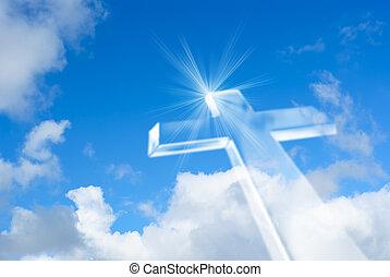 luminoso, céu, irradiando, crucifixos, branca