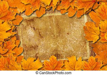 luminoso, caído, outono sai, ligado, a, antigas, papel, fundo