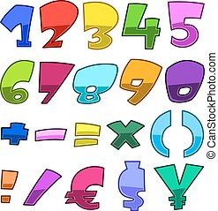 luminoso, caricatura, números