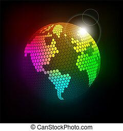 luminoso, celular, planeta