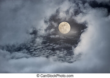 luminoso, cheio, nublado, lua