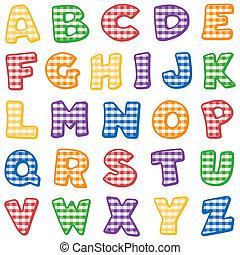 luminoso, cheque, alfabeto, gingham