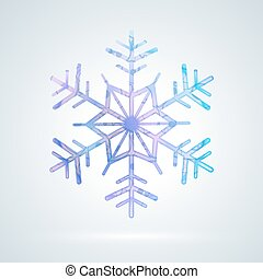 luminoso, colorido, snowflake, gelo