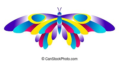 luminoso, colorito, insect., astratto, butterfly.