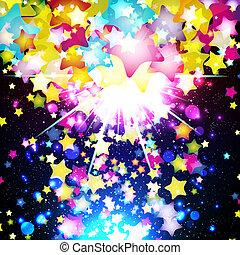 luminoso, colorito, volare, stelle, su, uno, fantastico,...