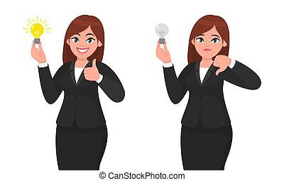 luminoso, conceito, sinal., illustration., executiva, mostrando, cima, infeliz, baixo, idéia, invenção, luz, polegares, segurando, inovação, bulbo, gesticule, feliz