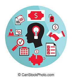 luminoso, concetto, idea, affari