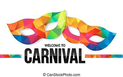 luminoso, cores arco-íris, carnaval, máscaras, com, pretas,...