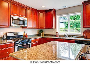 luminoso, cozinha, sala, com, cereja, madeira, armazenamento, combinação