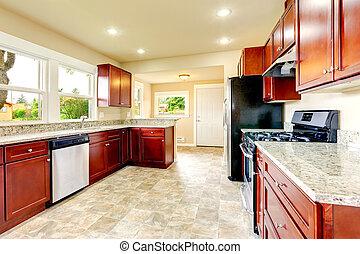 luminoso, cozinha, sala, com, preto, aço, eletrodomésticos