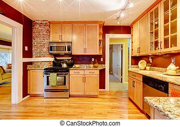 luminoso, cozinha, sala, com, tijolo, projetado, parede