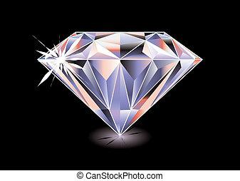 luminoso, diamante, nero