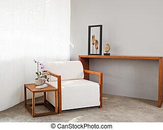 luminoso, divano, posto, bianco
