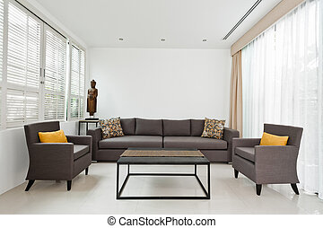 luminoso, divano, vivente, grigio, stanza