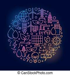 luminoso, energia alternativa, ilustração