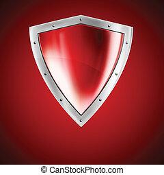 luminoso, escudo, vermelho