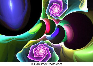 luminoso, espiral, cores, fundo, noturna, fractal