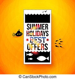 luminoso, estate, poster., vacanze, vettore, illustration., ...