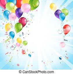 luminoso, feriado, com, balões