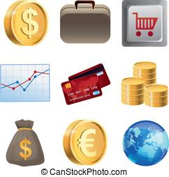 luminoso, finanças, cobrança, ícones