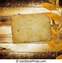luminoso, foglie, fondo, legno, autunno