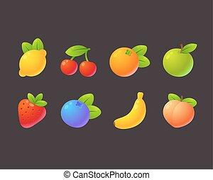 luminoso, frutta, set, cartone animato