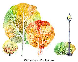 luminoso, fundo, árvores, outono