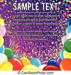 luminoso, fundo, com, balões coloridos
