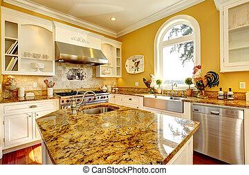 luminoso, giallo, cucina, stanza, con, granito, cime