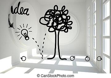 luminoso, gráfico, árvore, sala, idéia