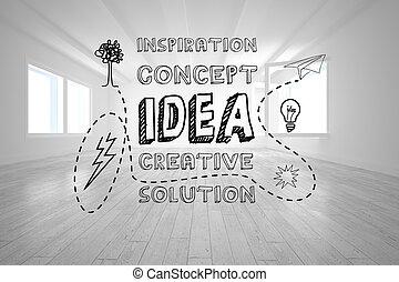 luminoso, gráfico, sala, idéia