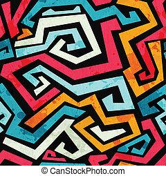 luminoso, graffiti, seamless, padrão, com, grunge, efeito