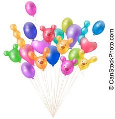 luminoso, grupo, balões, festivo